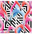 pink blue flamingo head seamless pattern vector image vector image