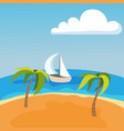 sea landscape with boat on seychelles palm beach vector image vector image