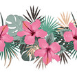 seamless floral summer border with tropical vector image