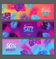 set colorful summer big sale tropical gradient vector image vector image