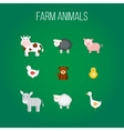 Set of flat design icons with farm animals vector image vector image