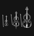 set of violins collection of bow musical vector image vector image
