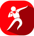 Shot put icon on red background vector image vector image