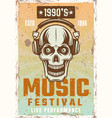 skull in headphones vintage poster for music vector image vector image