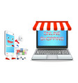smartphone cartoon shopping at laptop online store vector image vector image
