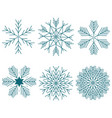 snowflake winter set of blue isolated six icon vector image