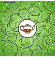 template with tea kettle vector image vector image