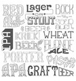 types of beer hand drawn lettering for bar pub vector image vector image
