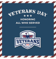 Veterans Day Background and Emblem Logo vector image vector image