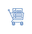 wheelbarrow in the supermarket line icon concept vector image vector image