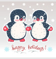 winter with penguins vector image vector image