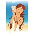 young woman with seashell vector image vector image