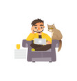 man working from home freelancer laptop and cat vector image