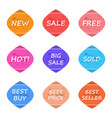 sale and promotion sticker label grunge style set vector image