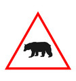 bear road sign design warning vector image vector image