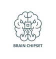 brain chipset line icon brain chipset vector image vector image