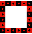 card suits red black white chess board border2 vector image vector image