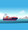 cargo ship flat container vector image vector image