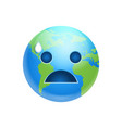 cartoon earth face crying emotion icon funny vector image