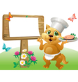 Cat chef sign vector image vector image