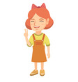 caucasian little girl showing victory gesture vector image vector image
