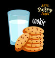 chocolate chip cookies and glass hot milk vector image