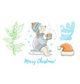 christmas doodle polar bear animal santa hat vector image vector image