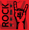 color template on rock music theme with hand and vector image