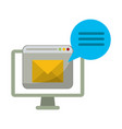 computer with email website and chat bubble vector image vector image