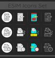 copywriting services dark theme icons set vector image