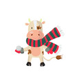 cute bull wearing scarf and mittens and holding a vector image vector image