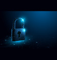 cyber security concept lock symbol low poly vector image
