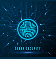 cyber security fingerprint scanning vector image vector image