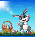 easter bunny with easter basket full of decorated vector image vector image
