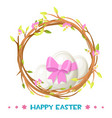 easter eggs in a floral wreath for holiday vector image