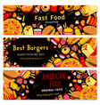 fast food restaurant burgers banners set vector image vector image