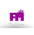 fm f m dots letter logo with purple bubbles vector image vector image