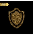 Gold glitter icon of shield isolated on vector image vector image