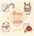 greeting card with cartoon kawaii pigs vector image
