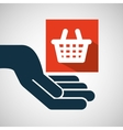 hand hold basket shop e-commerce icon vector image