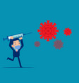 holding a syringe to kill virus healthcare vector image