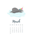 march 2019 year calendar page vector image vector image