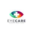modern gradient eye and medical cross logo vector image