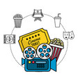 movie camera with ticket and popcorn vector image vector image