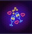 neon champagne glasses toast hearts valentine vector image