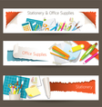 Office and Stationery Supplies Objects Banner vector image vector image