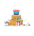online store object with shopping cart box laptop vector image