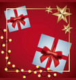 red christmas card gifts star and light decoration vector image