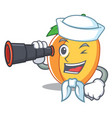 sailor with binocular apricot mascot cartoon style vector image vector image