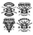 samurai monochrome emblems or shirt prints vector image vector image